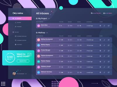Mailtrap app design dark version