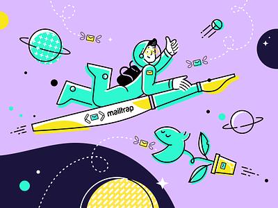 Mailtrap Blog top illustration cosmonaut email star planet space vector vivid illustration simple graphic concept clean design flat