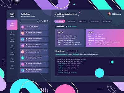 Mailtrap Dashboard Inbox SMTP Settings dashboad dark theme lilac ui interface vector vivid icon graphic concept clean design dark ui