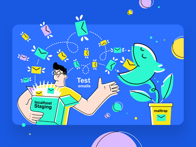 Mailtrap banner for Facebook campaign positive box flower test emails staging developer character vivid illustration simple graphic concept clean design flat