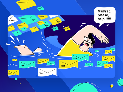Sinking in test emails? Try Mailtrap! storm test swimming wave development email developer blue character graphic simple illustration vector clean design flat