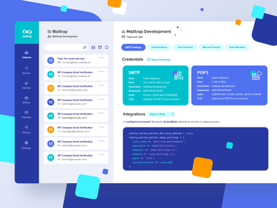 Mailtrap Inboxes SMTP Settings Page ui navigation logo server inbox email dashboard interface vector vivid icon simple graphic concept clean design flat