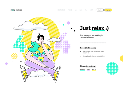 404 page for Mailtrap keds flower developer cloud 404 lilac yellow green vector vivid illustration simple graphic concept clean design flat