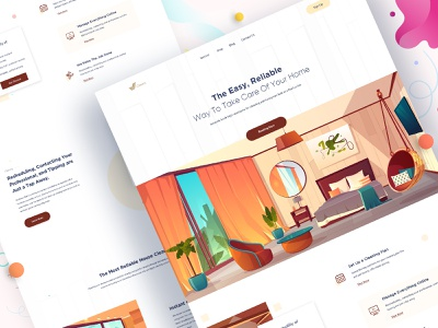 Clenco - Home Cleaning Landing Page website design visual design landing page design clean ui 2020 trend interface homepage agency web ux ui typography illustration website web design landing page house cleaning cleaning service cleaning company cleaning