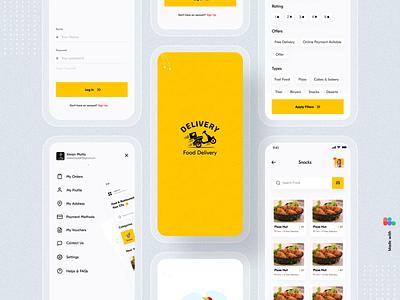 Food Delivery App uiux ui typography restaurant order mobile app design mobile app mobile minimal ios illustration food delivery app food delivery food app design delivery clean ui application app design app