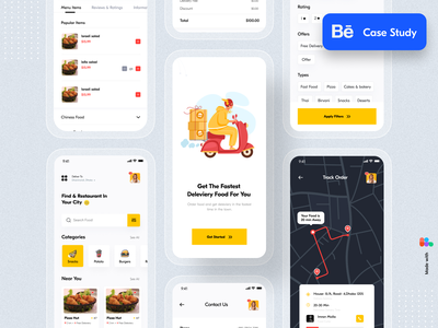 Food Delivery App - Behance Case Study mobile app ui uiux typography restaurant mobile app design mobile minimal ios illustration food delivery app food delivery food app design delivery clean ui application app design app case study