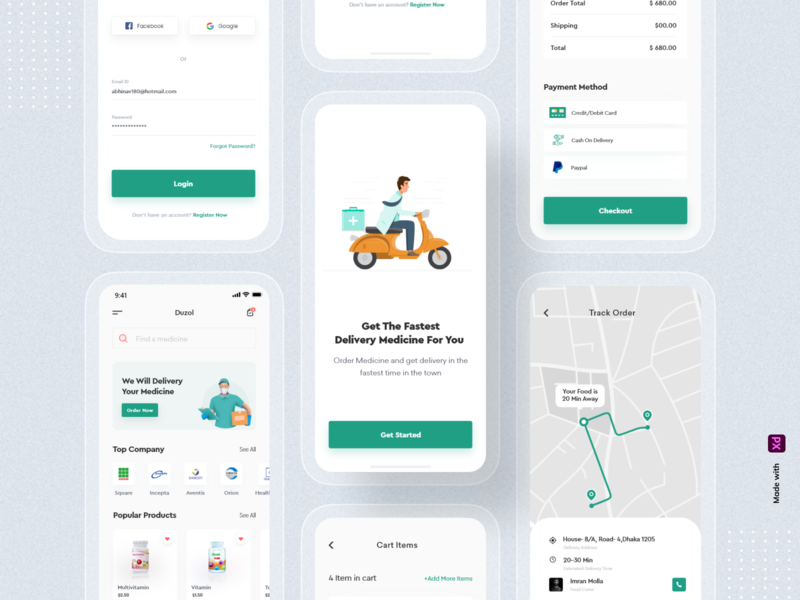 Medicine Delivery App uiux ui typography order mobile app design mobile app mobile minimal medicine delivery app medicine delivery medicine app medicine ios illustration design delivery clean ui application app design app