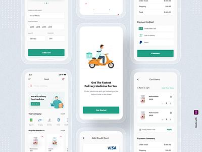 Medicine Delivery App illustration mobile app mobile app design mobile app design medicine delivery app medicine delivery delivery app pharmacy