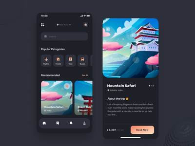 Travel App uiux minimal typography ios mobile app design mobile app mobile application app design app tourism app vacation tourism tour trip travel agency traveling travelling travel app travel