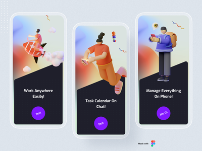 Productivity Onboarding UI Design flat ux 3d illustration 3d ios ui illustration design minimal typography application app design app mobile app design mobile app mobile onboarding screen onboarding illustration onboarding ui onboarding