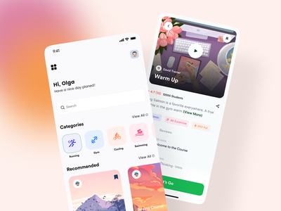 Fitness App UI 🏃♀️💪 design workout app fitness app gym app personal trainer minimal interface ios workout exercise fitness gym mobile ui mobile design mobile app design mobile app mobile application app design app