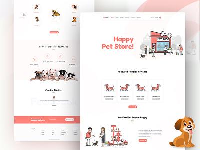 Pet Shop Landing Page ux ui minimal pets dog typography illustration bangladesh online shop website web design ui interface ui design shop puppy pet landing page e-commerce dog lover pet shop