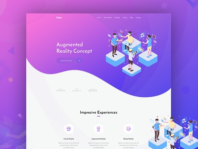 Virtual augmented reality ecommerce agency website web ui reality people games isometric vr virtual realtiy trend 2018 mixed reality landing page illustration gradient augmentedreality augmented ar 360 video