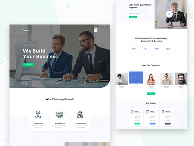 Consult - Business Consulting Landing Page V2 website web landing page web design web ui design ux ui typography minimal landing page design landing page illustration home page clean website design clean user interface clean ui design agency landing page creative business consulting