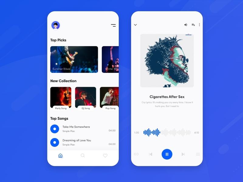Music Player App ios app design app ui trend 2019 typography music app playlist player player ios application song ui ui ux playlist minimal artist music player app app music album music player music app music