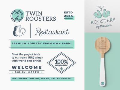Twin Roosters Logo & Branding Elements