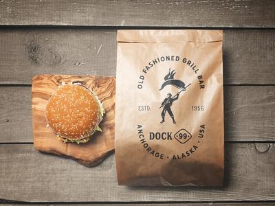 Dock 99 Paperbag grill bar branding alaska burger logo packaging paperbag