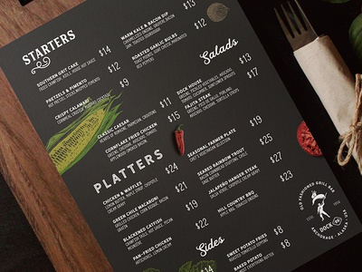 Dock 99 Menu Design print bbq bar steak restaurant design menu