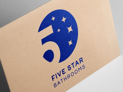 Five Star Bathrooms renovation building architecture interior blue sky star five branding logo