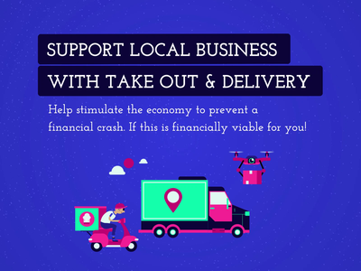 Support Local Business - COVID19 sky scooter bike moped truck loop delivery truck drone takeaway delivery corona covid-19 covid19 branding animation illustrator illustration flat icon vector