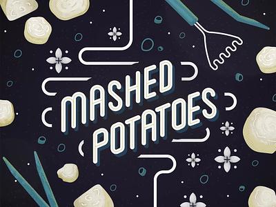 Mashed Potatoes!! potato after effects animated recipe plant based vegan mashed potatoes logo design gif illustration loop branding animation 2d illustrator vector illustration icon flat vector
