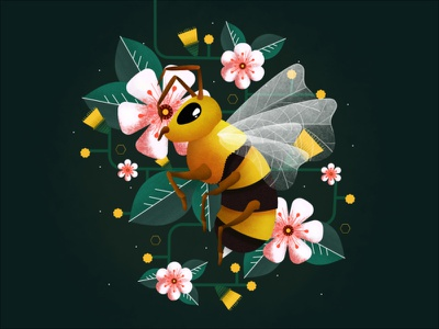 Bumbley Boo the Bee design affinitydesigner affinity vector illustration icon australian leaves vines plants flowers flower bug insect bumblebee honey bee bee