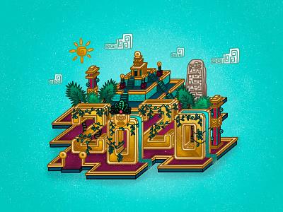 Aztec 2020! style style frame sun line art gold leveldesign aztecs art new years eve new year 2020 mayan aztec design 2d illustrator icon flat vector illustration