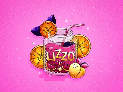 Blame it on my juice | LIZZO drinks straw peach lemon orange oranges halftone texture typography design 2d illustrator icon flat vector illustration affinity affinity designer juice lizzo