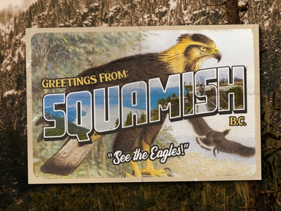 Greetings From Squamish bird aaron brink canada mountains forest old distressed vintage postcard eagle squamish
