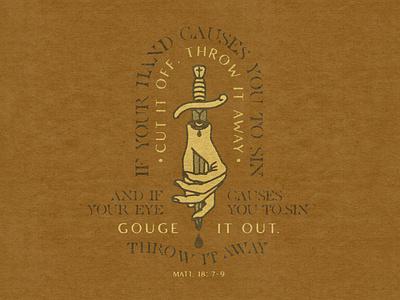 Gouge It Out holy spirit matthew reformed protestant orthodox catholic jesus christian bible distressed badge aaron brink squamish