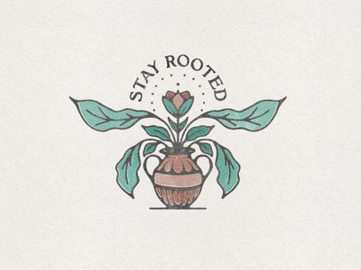 Stay Rooted rooted root leaves vase reformed protestant orthodox catholic monsterra plant jesus christian bible distressed badge aaron brink squamish