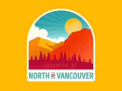 North of Vancouver vintage vancouver whistler british columbia bc badge canada illustration aaron brink squamish