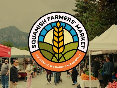 Squamish Farmers Market Badge Idea farm logo badge sun wheat farmers market