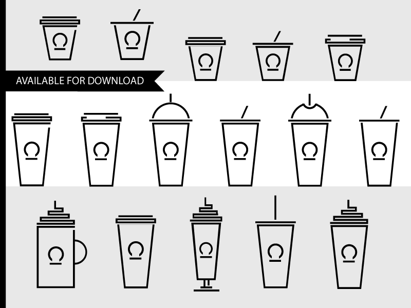 "Set of Icons ""Coffee Shop Drinks"""
