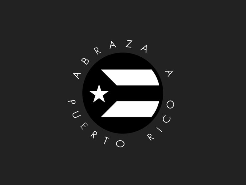 Abraza A Puerto Rico Badge black flags logo icon flag design vector puertorico badge