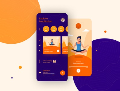 Meditation Screen icon illustration vector ux minimal app ui design