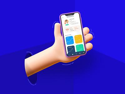 3D Hand 3d app ux minimal ui design