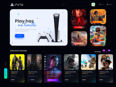 PS5 Store ps5 ux ui web store play station 5