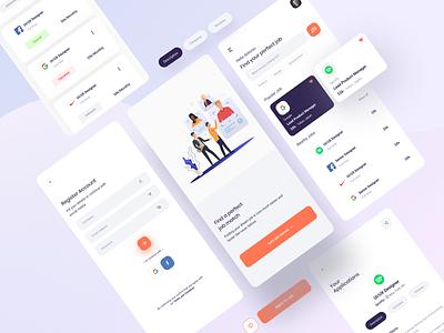 Find Jobs App vector illustration website minimal web design ui ux app job portal jobs