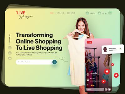 Live Shopping Header logo ux web app design ui vector branding illustration minimal website