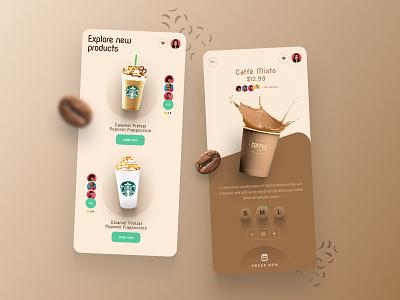 Coffee Shop ux shop coffee app graphic design 3d ui