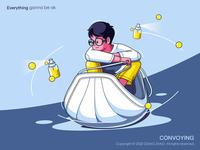 Convoying office river boat ship festival web poster illustration character