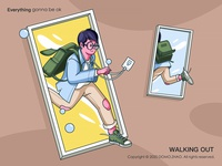 Walking out workout work office character web poster illustration