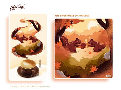 Autumn 02/3 squirrel autumn leaves autumn festival character web poster illustration