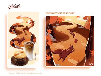 Autumn 01/3 squirrel autumn leaves autumn festival character web poster illustration