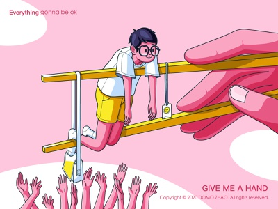 GIVE ME A HAND chinese work office character festival web poster illustration