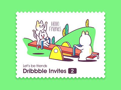 2x Dribbble Invites invite green cat friends invites invitations dribbble