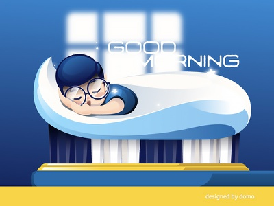 Morning sleeping toothpaste brush morning family illustration