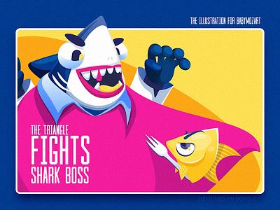 Fights food fight boss shark fish monster web poster illustration