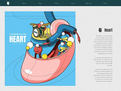 Heart rock band heart beat heart music web poster illustration